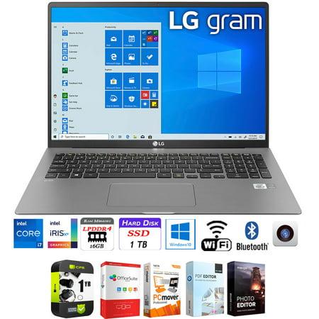 "LG gram 17"" WQXGA 2560x1600 11th Gen Intel i7-1165G7 16GB/1TB SSD Laptop Bundle w/ Elite Suite 18 Software + 1 Year Protection Warranty"