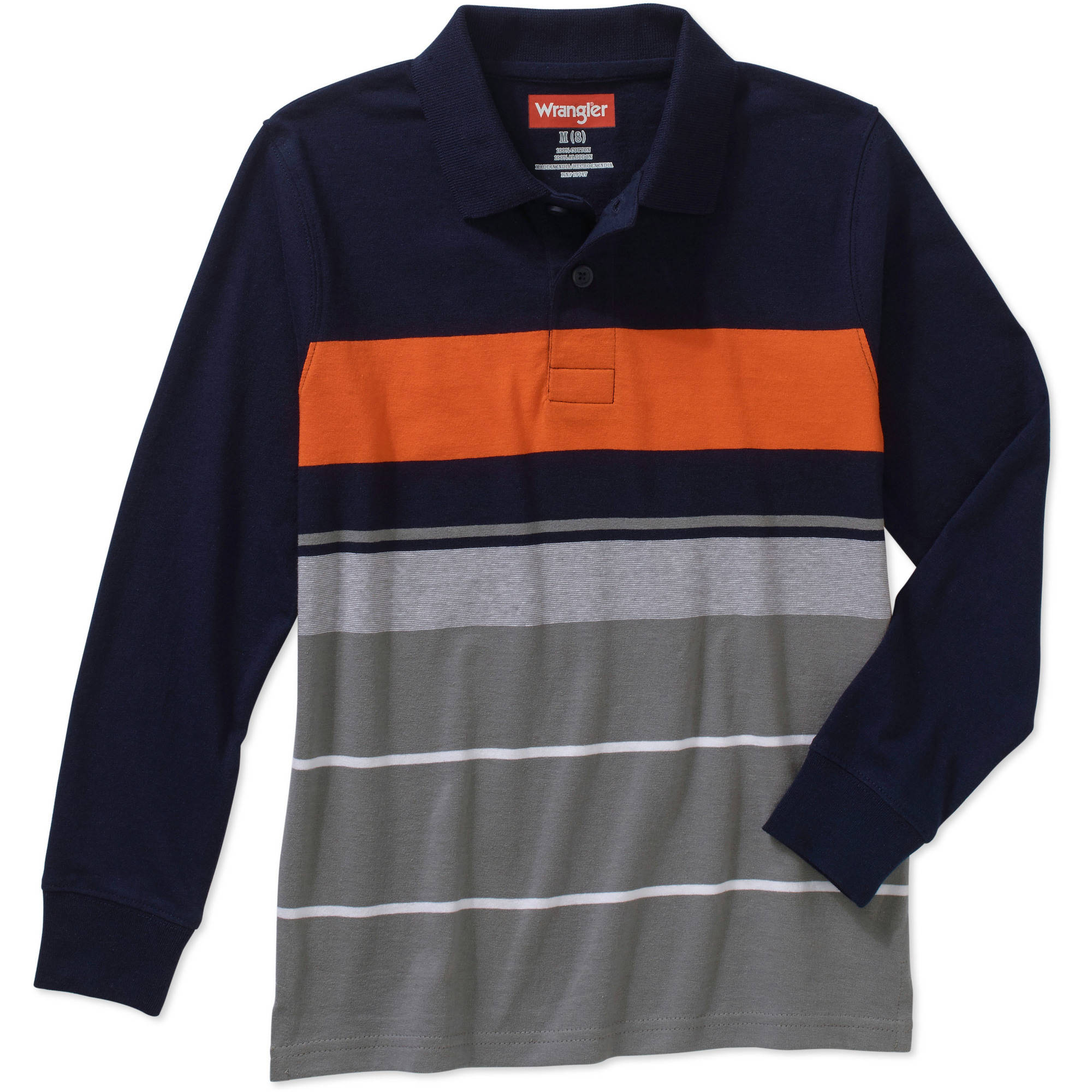 Wrangler boys' Long Sleeve Engineer Strip Polo Shirt