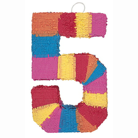 Number 5 Pinata, 22 x 14.25 in, Multicolor, 1ct (Pinatas For Boys)