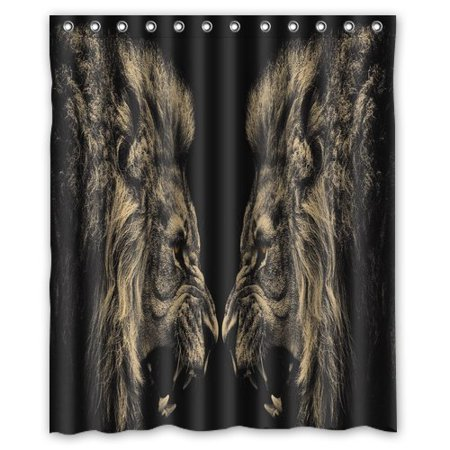 GreenDecor Animal Lion Print Mom Gift Ideas Set Waterproof Shower Curtain Set with Hooks Bathroom Accessories Size 60x72 inches ()