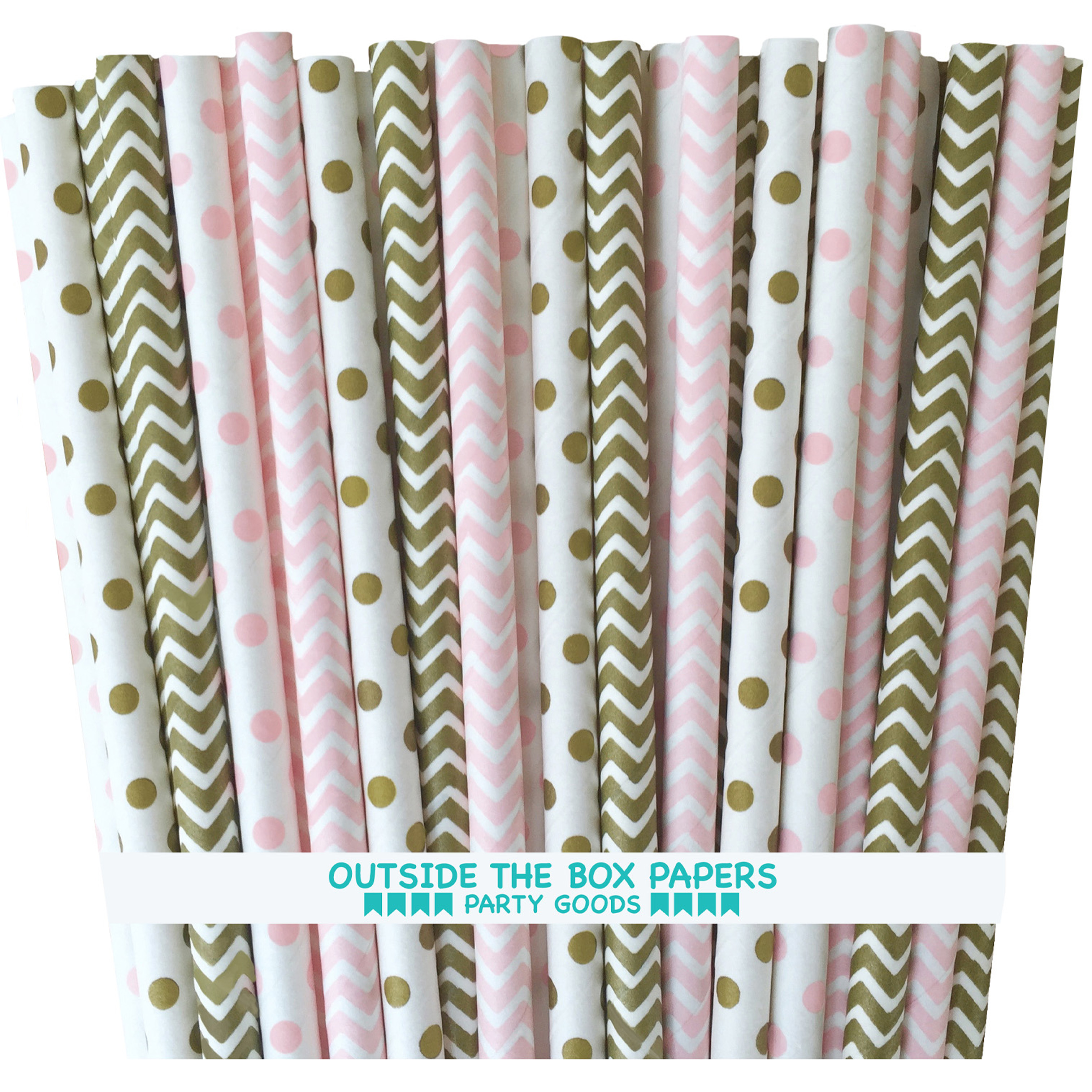 Gold and Pink Polka Dot and Chevron Paper Straws  100 Pack