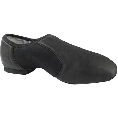 Girls Black Leather Neoprene Split-Sole Jazz Shoes 8 Toddler-4 Kids