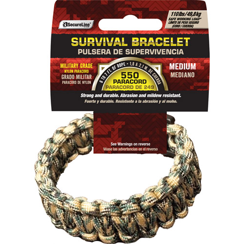 "SecureLine 550 lb Military Grade Paracord Survival Bracelet, Medium, 8.5"", Camouflage"