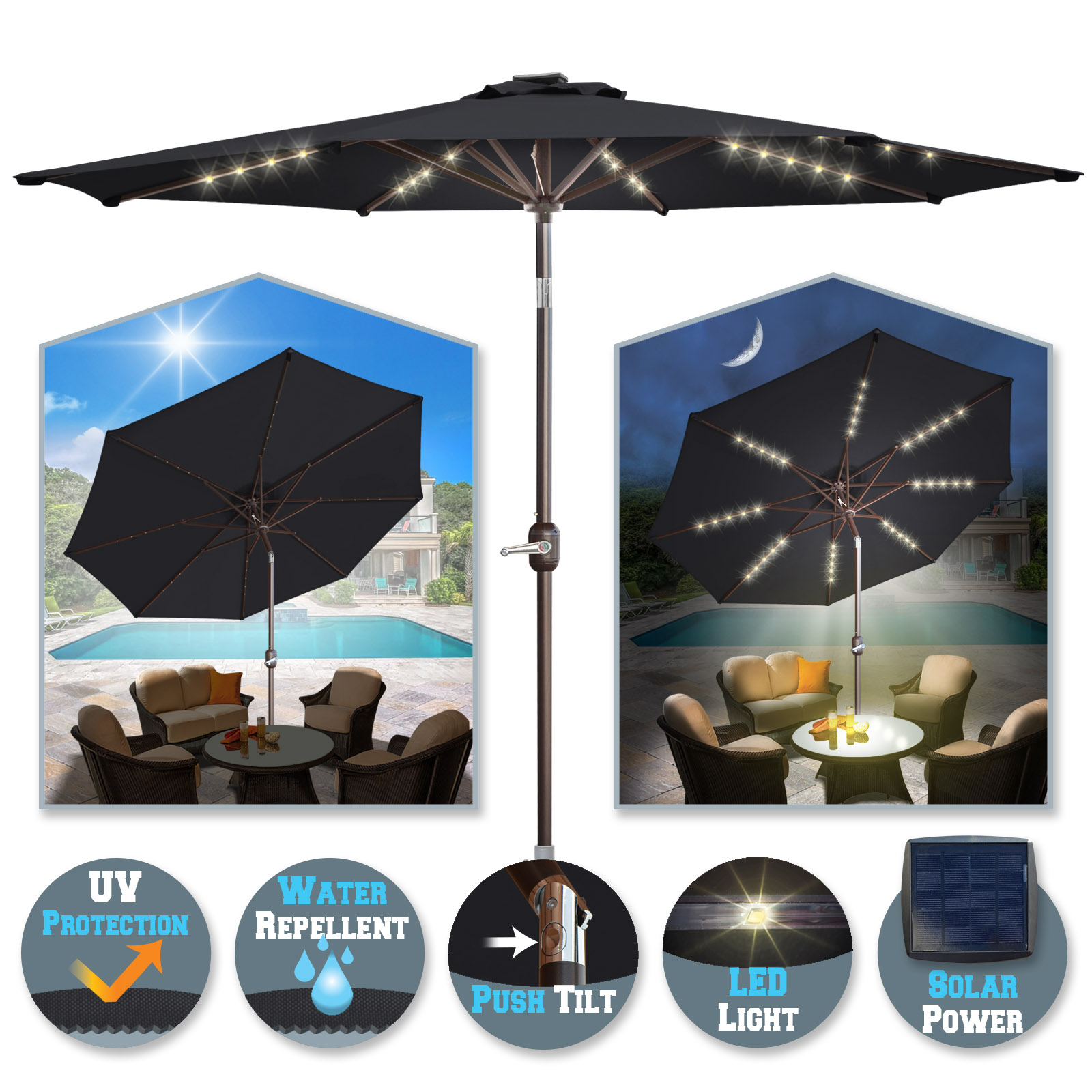 Sunrise 9' Outdoor Patio Solar Umbrella with 40 LED lights and 8 Ribs, Garden Sunshade with Crank and Tilt (Brown)