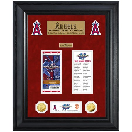 "Los Angeles Angels Highland Mint 18"" x 22"" 2002 World Series Champions Deluxe Coin & Ticket Collection Photo Mint - No Size"