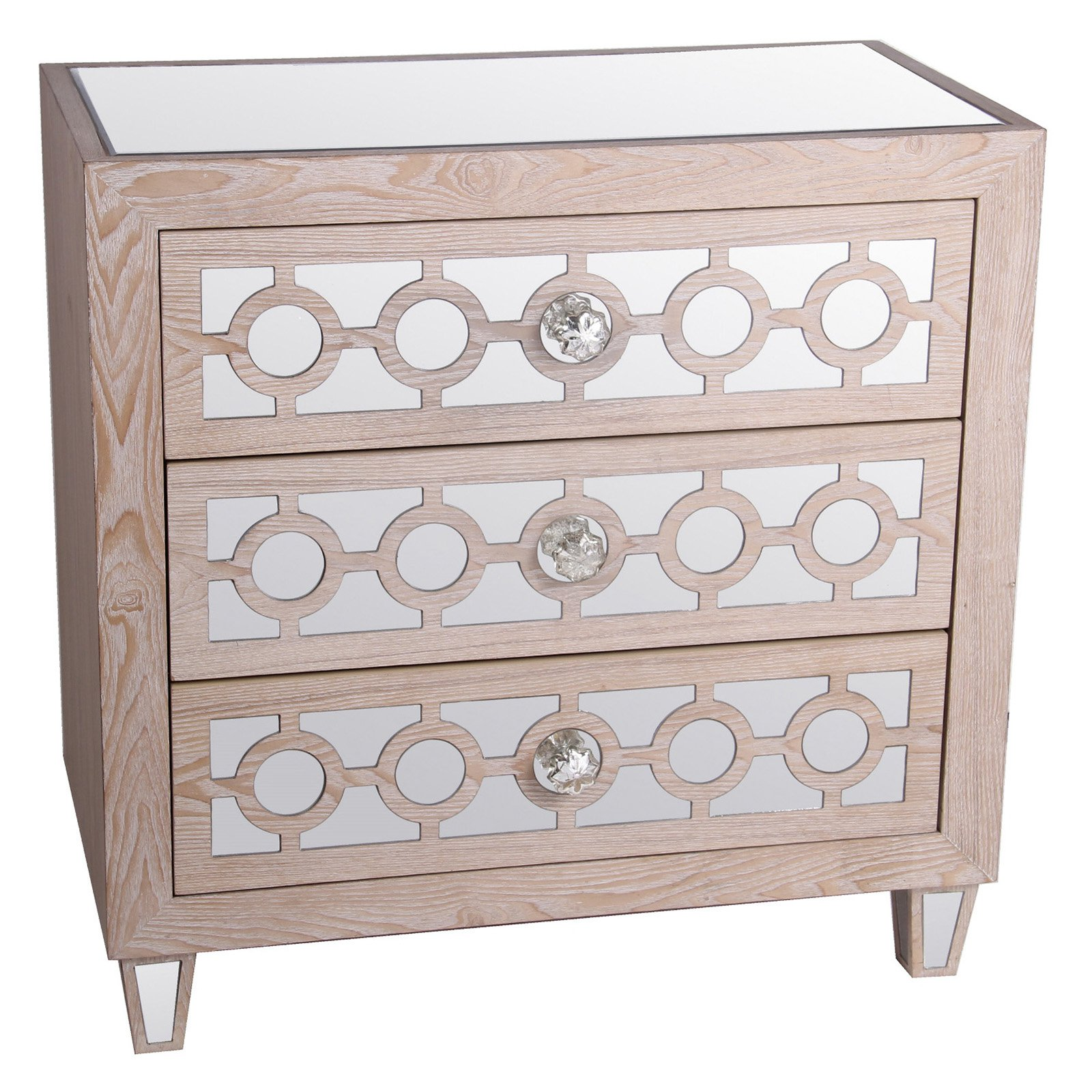 Privilege International Mirrored Accent Stand With 3 Drawers   Natural White