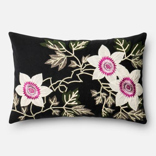 Alexander Home Embroidered Cotton Black/ Ivory Floral 13 x 21 Throw Pillow or Pillow Cover