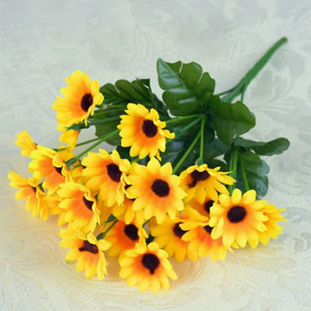 KABOER 1 Bouquet Artificial Sunflowers Fake Sunflowers Home Decoration Wedding Decor Bride Holding Flowers Bouquets(13 Heads/24 Heads)