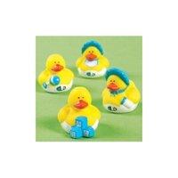 Two Dozen (24) Blue BOY Mini Rubber Ducky Duck Baby Shower Birthday Party Favors Children, Kids, Game