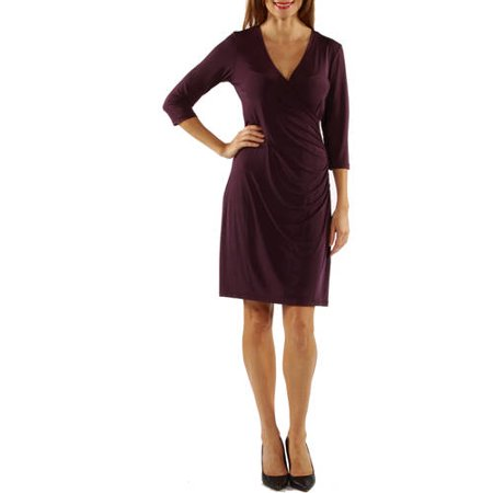 24/7 Comfort Apparel Women's Faux Wrap Dress