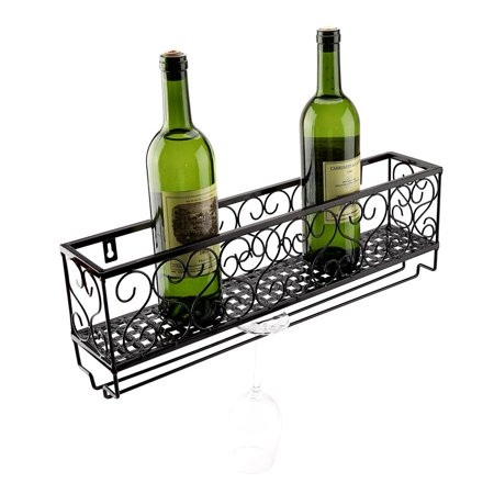Walfront Wall Mount Metal Wine Rack Bottle Champagne Gl Holder Storage Bar Accessory With Shelf