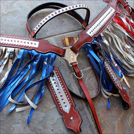 Tooled Roper Breast Collar - HILASON US AMERICAN FLAG WESTERN LEATHER HORSE HEADSTALL BREAST COLLAR RED BLUE