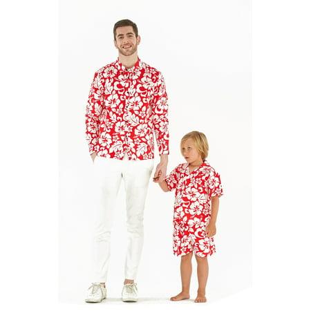 689d7458 Matching Father Son Hawaiian Luau Outfit Men Shirt Boy Shirt Shorts Classic  Vintage Hibiscus Red 2XL-8