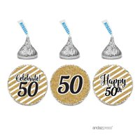 Milestone Chocolate Drop Labels Trio, Fits Hershey's Kisses Party Favors, 50th Birthday, 216-Pack, Not Real Glitter