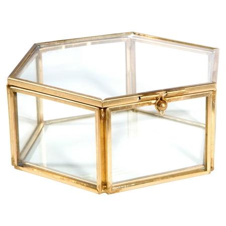 Home Details Vintage- Copper-Medium Hexagon W. Top Lid Glass Brass Metal Jewelry Box 4.7X4.3X1.9 Inch 4.5' High Jewelry Box