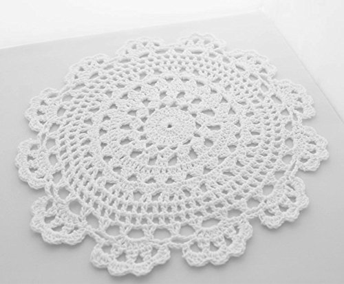 Fennco Styles Handmade Medallion Crochet Lace Round Cotton Placemat Doilies 4 Pack... by Fennco Styles