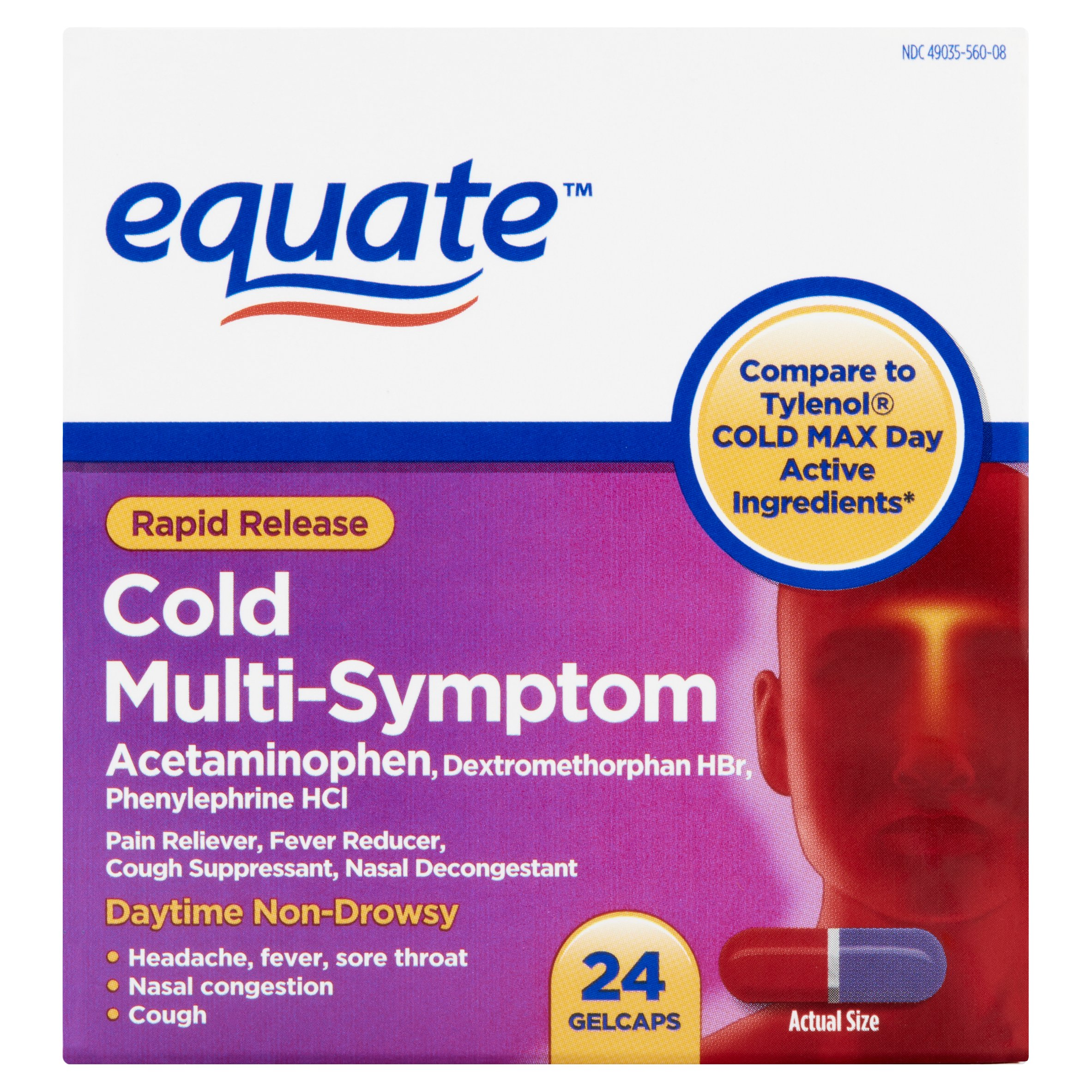 Equate Rapid Release Cold Multi-Symptom Gelcaps, 24 Ct