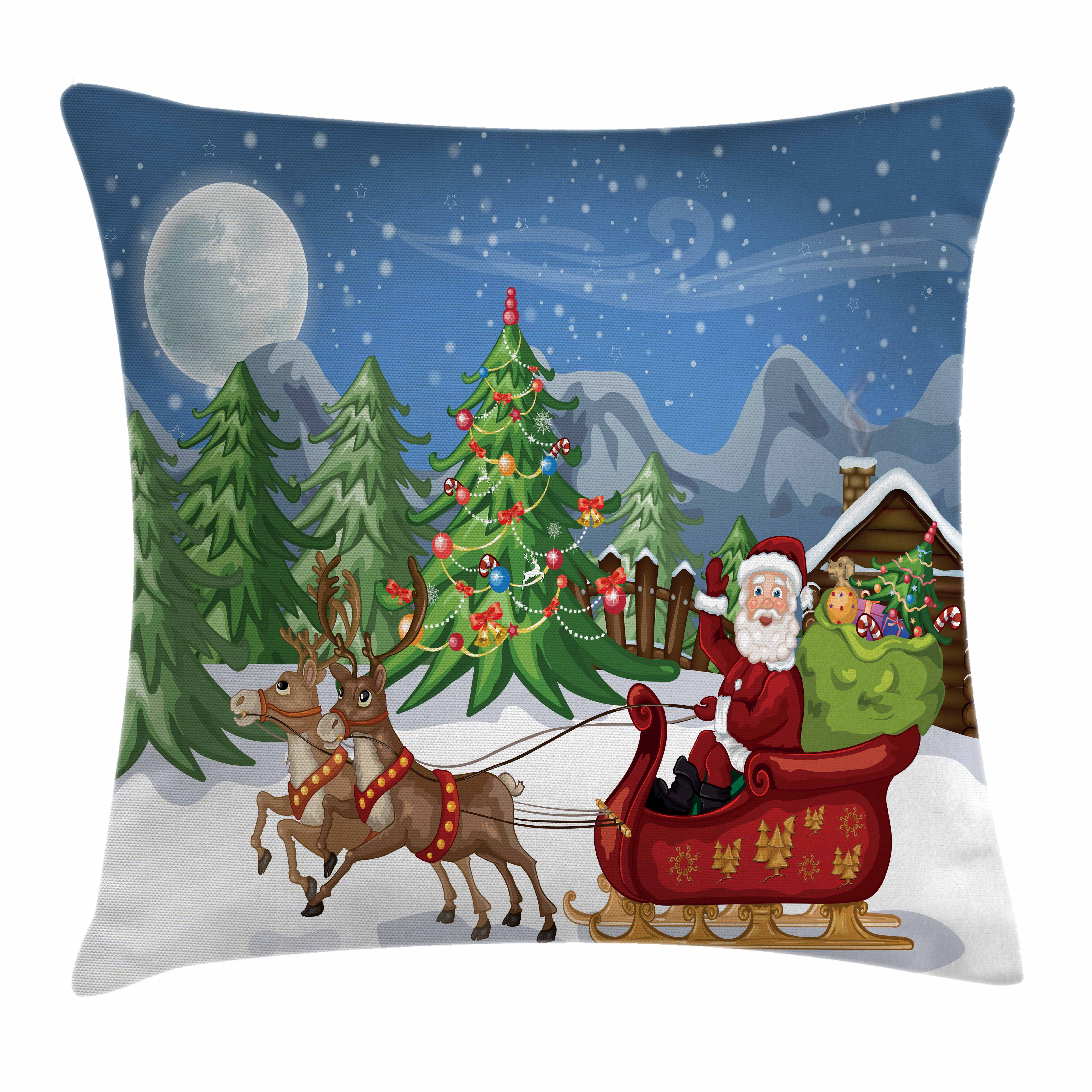 Christmas Throw Pillow Cushion Cover, Country Landscape at Night with Trees Santa Claus Snowdrift Reindeers Mountains, Decorative Square Accent Pillow Case, 18 X 18 Inches, Multicolor, by Ambesonne