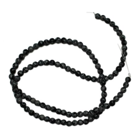 4mm Round Black & Grey Onyx Stone Bead Strand (105 Piece)