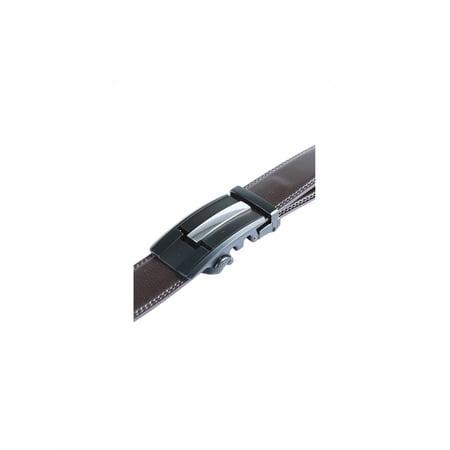 "Men Automatic Buckle Holeless Ratchet Belt 1 1/2"" Dark Brown 125CM - image 2 of 5"