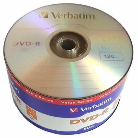 50 Pack Verbatim Blank DVD-R DVDR Logo Branded 16X 4.7GB 120min Recordable Media Disc