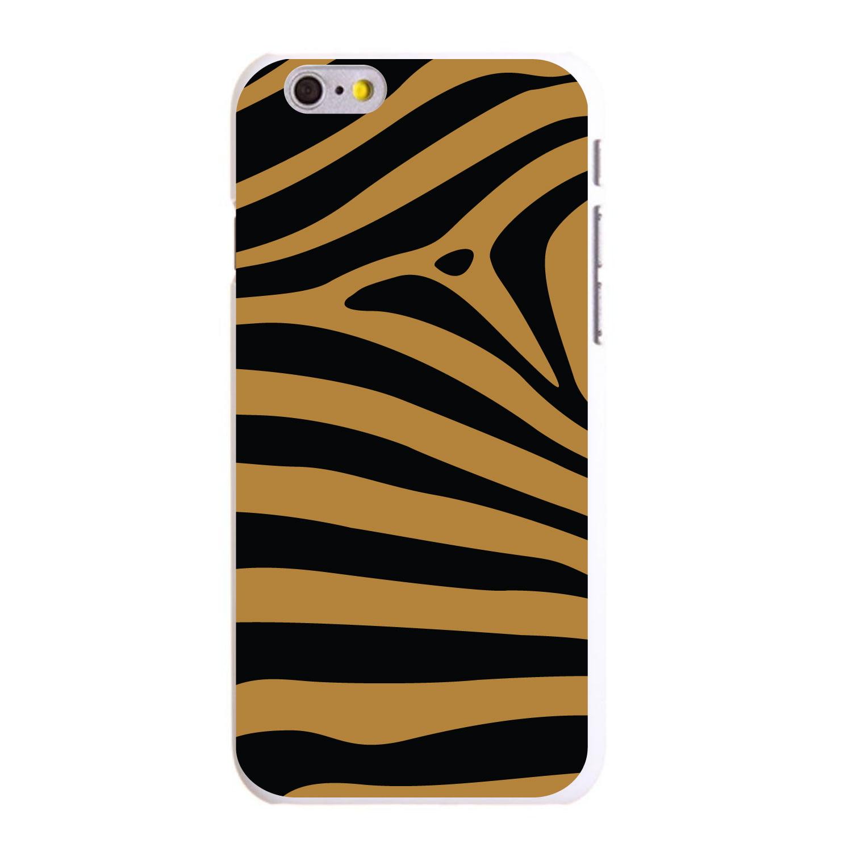 """CUSTOM White Hard Plastic Snap-On Case for Apple iPhone 6 / 6S (4.7"""" Screen) - Black Brown Zebra Skin Stripes"""