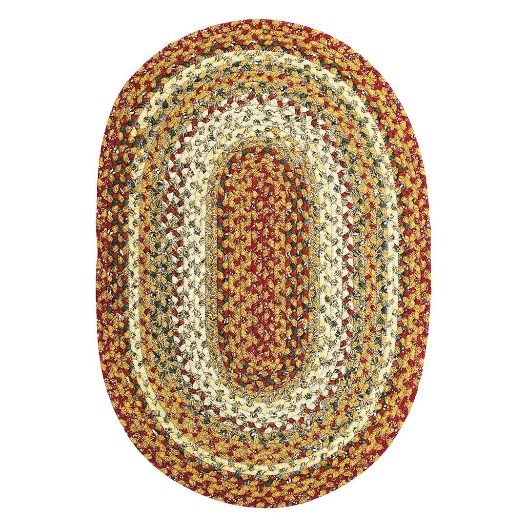 Pumpkin Pie Cotton Braided Area Throw Rugs Oval and Rectangle 20x30 - 8x10