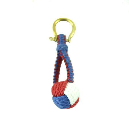 Red White Blue Monkey Fist Sailor Knot Keyring Nautical Keychain USMC US Navy Key Ring (Paracord Monkeys Fist Keychain Self Defense Weapon)