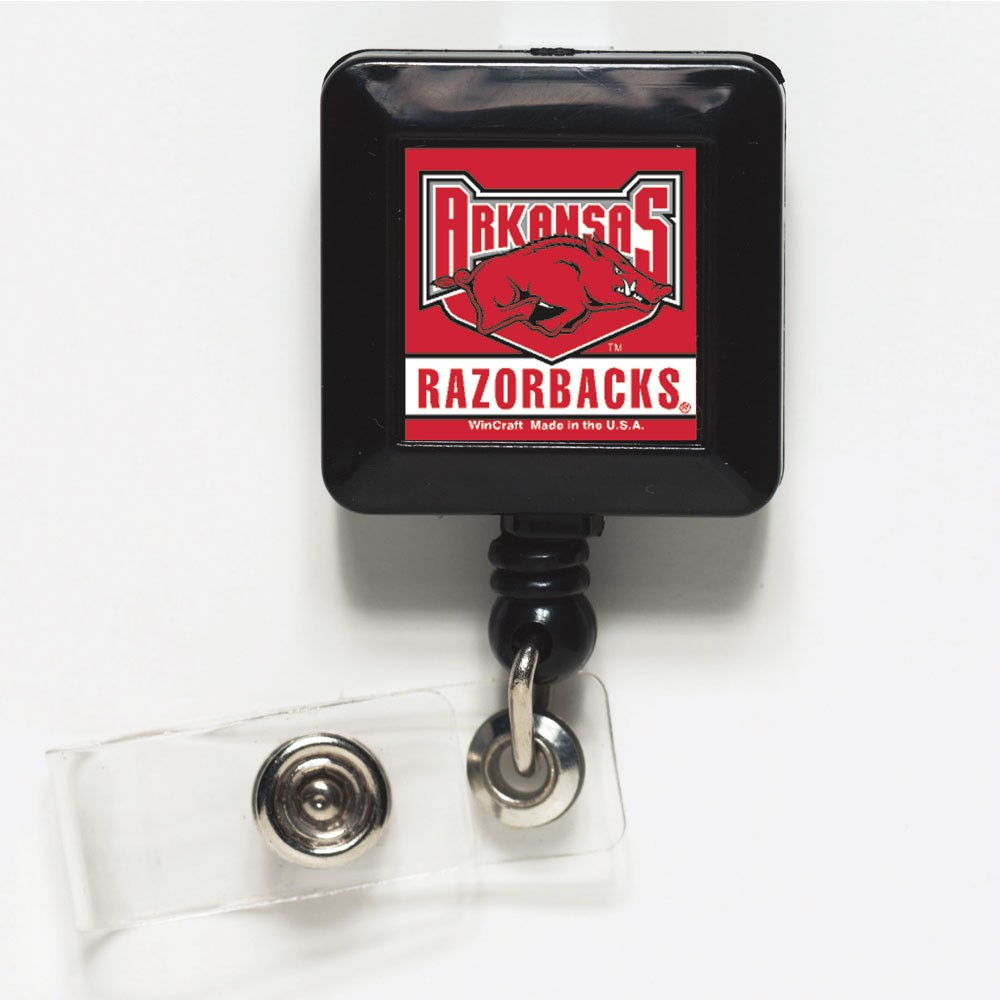 Arkansas Razorbacks Official NCAA 1 inch x 1 inch  Retractable Badge Holder Key Chain Keychain by WinCraft