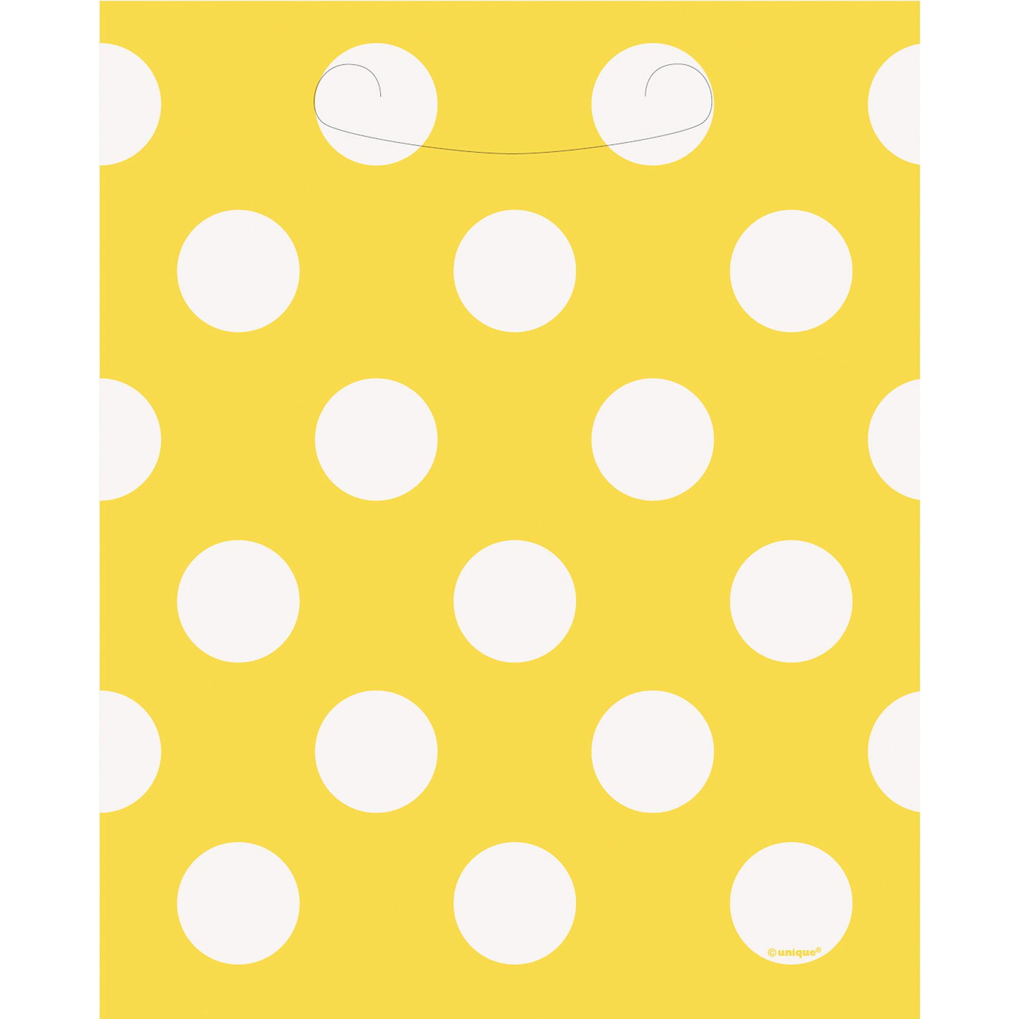 Yellow Polka Dot Favor Bags, 8pk