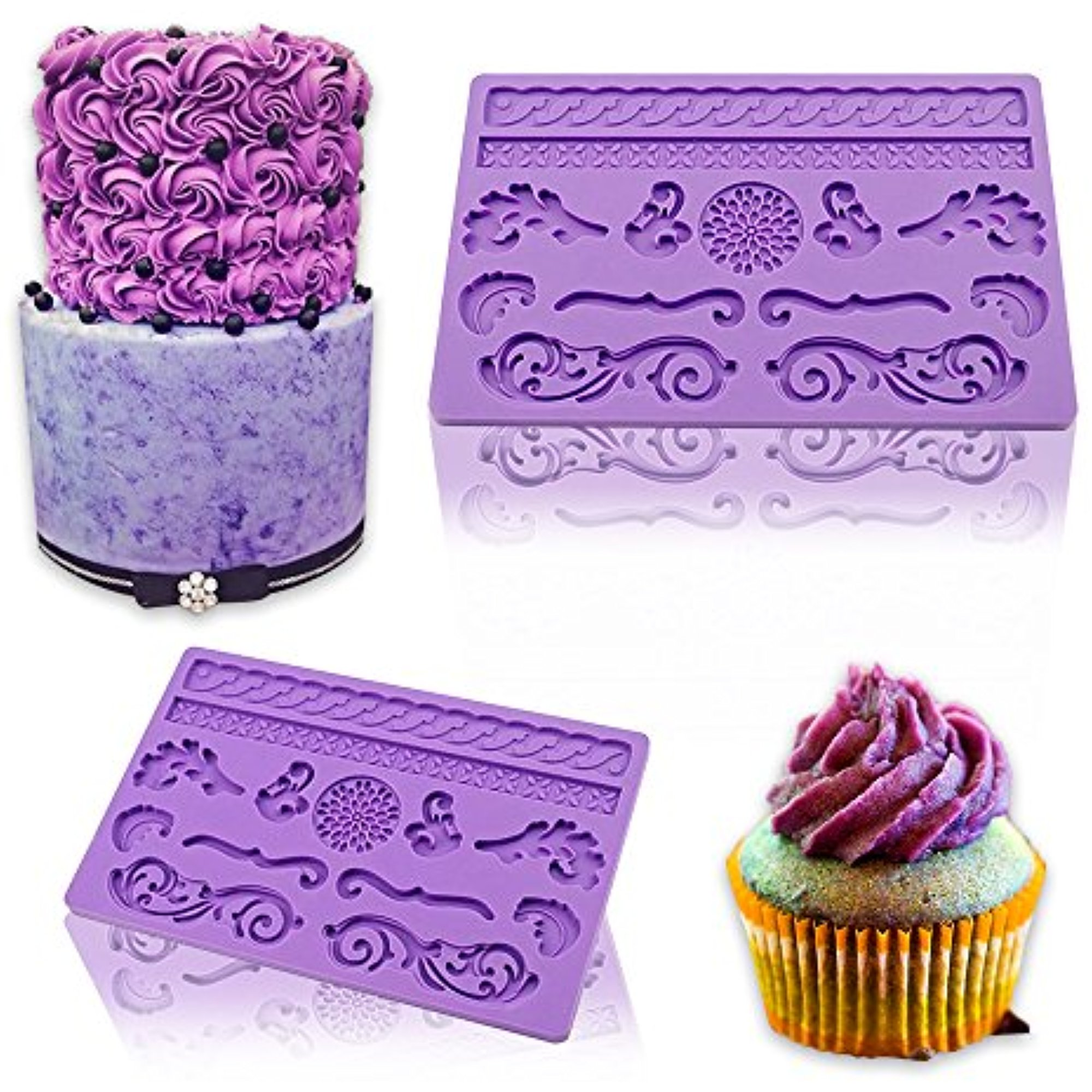 iClover Food Grade Silicone Lace Cake Mold, Fondant Gum Paste Mold Cake Mold, Soap Mold, DIY Cake Decorating by