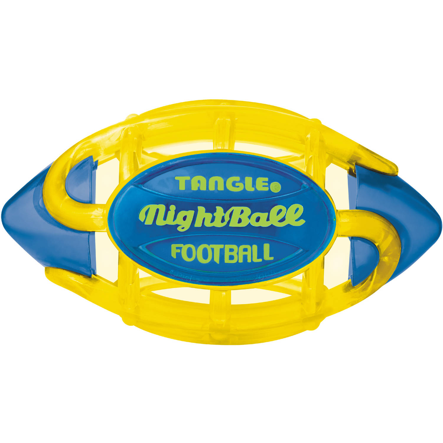 Tangle NightBall Football, Large, Yellow Body Blue Tips by Tangle Creations