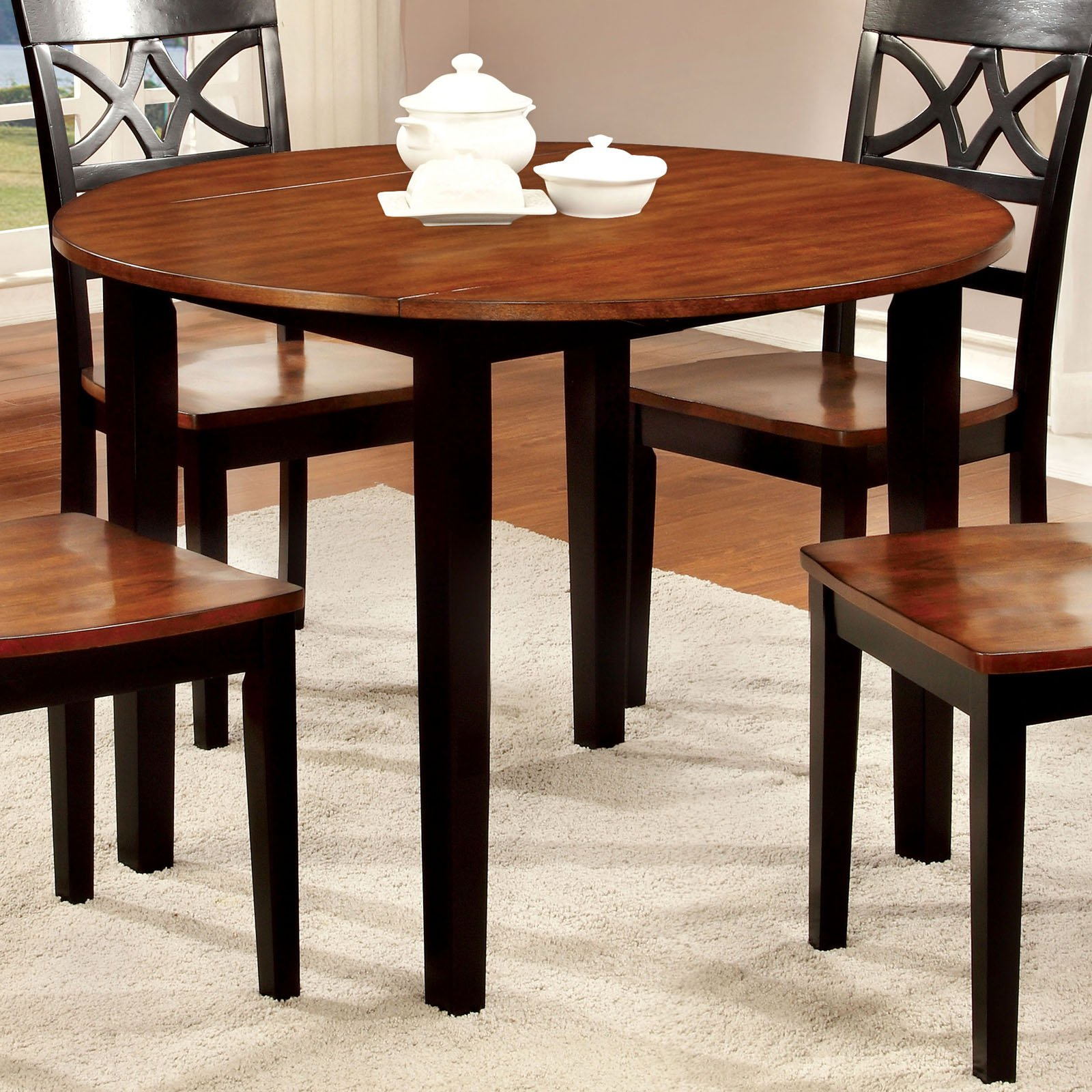 Furniture of America Lohman Dual-Tone Round Dining Table by Enitial Lab