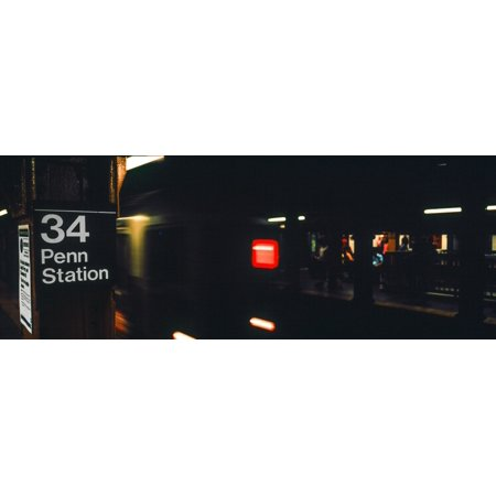 Subway train at New York City Penn Station New York City New York State USA Canvas Art - Panoramic Images (27 x