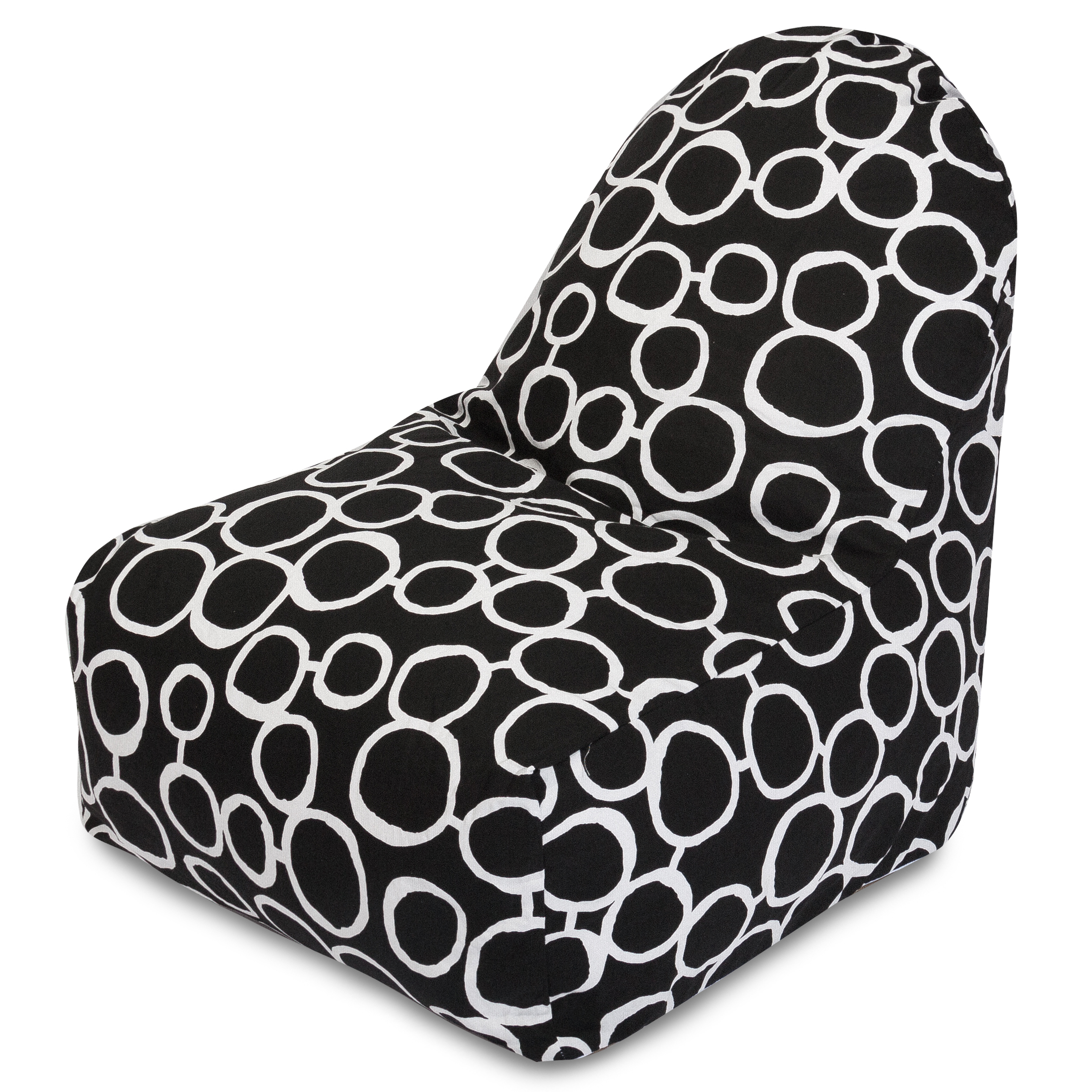 Majestic Home Goods Indoor Black Fusion Bean Bag Kick-it Chair 30 in L x 26 in W x 30 in H