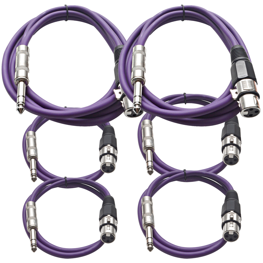 "Seismic Audio 6 Pk of Purple XLR Female to 1/4"" TRS Patch Cables  Two 6 ft Two 3 Ft, Two 2 ft Purple - SATRXL-F6C-Purple"