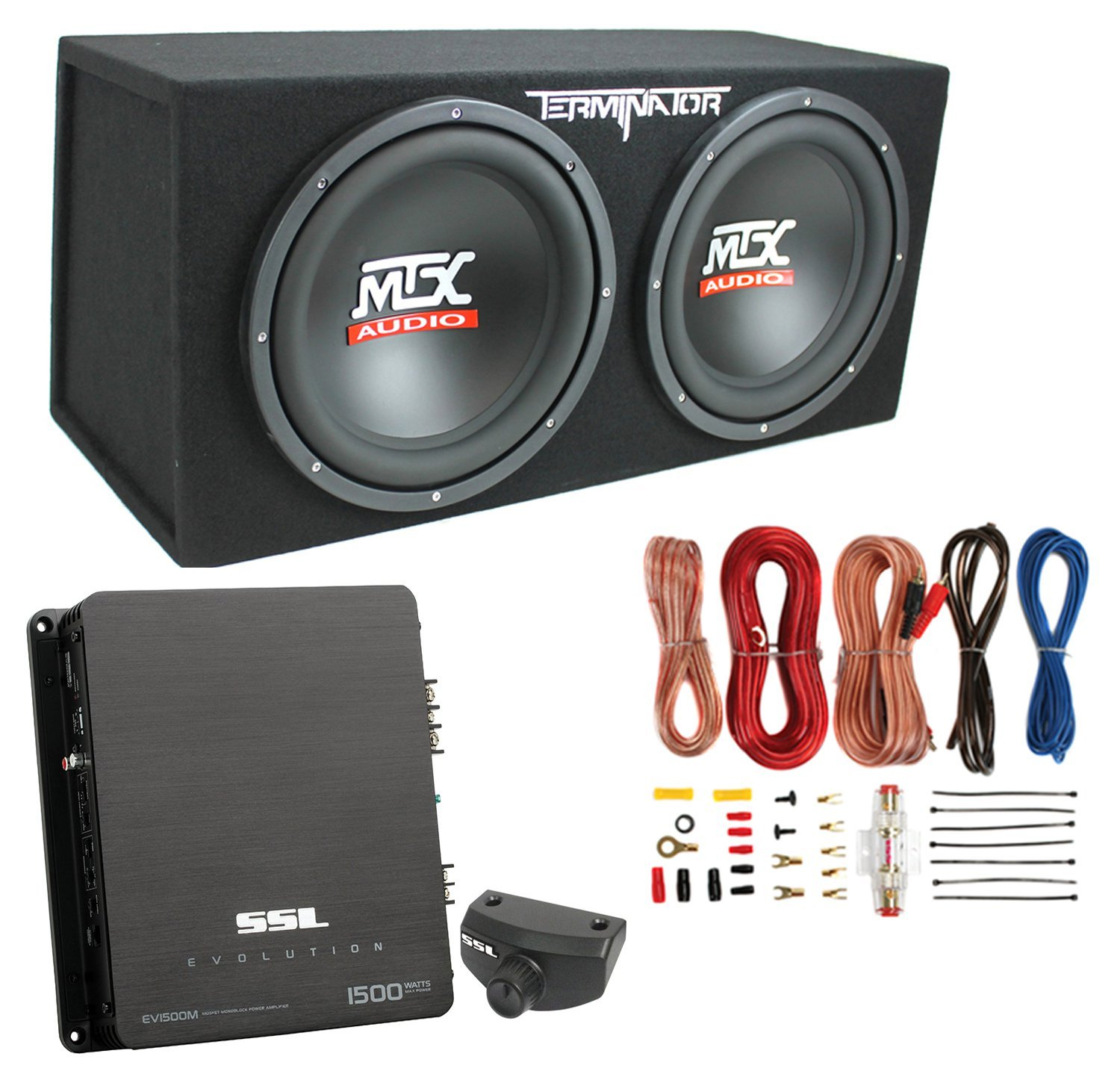 "MTX Audio 12"" 1200W Dual Loaded CAR Audio Subwoofers With BOX Enclosure Package"