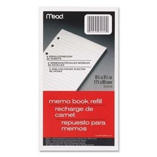 "Mead Memo Book Refill Pages, Loose-Leaf, Narrow Ruled, 3 3/4"" x 6 3/4"", 80 Sheets"