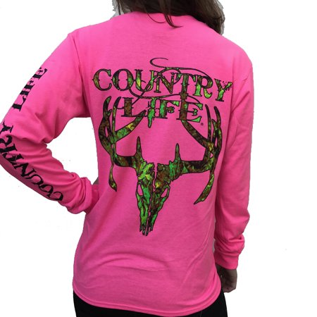 Country Life Camo Deer Skull Safety Pink Long Sleeve Shirt (Medium)