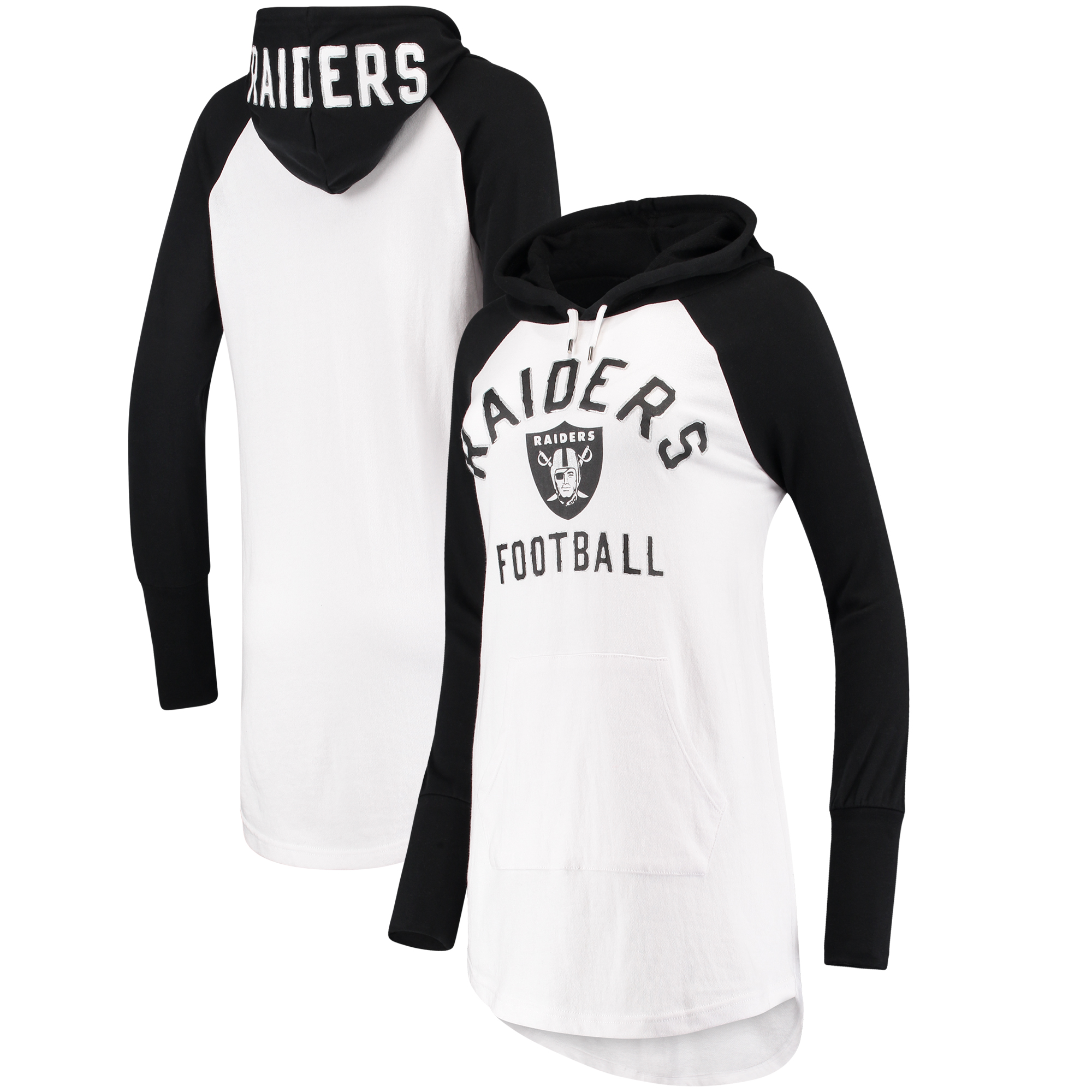Oakland Raiders G-III 4Her by Carl Banks Women's All Division Raglan Sleeve Pullover Hoodie - White/Black