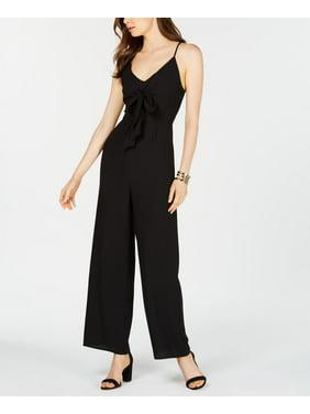 19 COOPER Womens Black Tie Front Spaghetti Strap V Neck Jumpsuit  Size: L