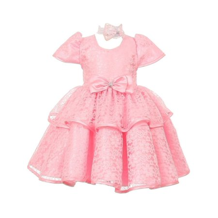 Lace Overlay (Baby Girls Pink Floral Embroidered Lace Overlay Bow Flower Girl Dress)