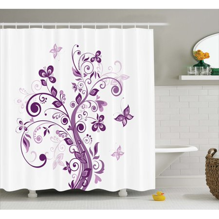 Mauve Shower Curtain, Tree with Swirled Branches and Flowers Leaf Butterfly Bridal Inspirations Theme, Fabric Bathroom Set with Hooks, Purple White, by Ambesonne](Butterfly Bathroom)