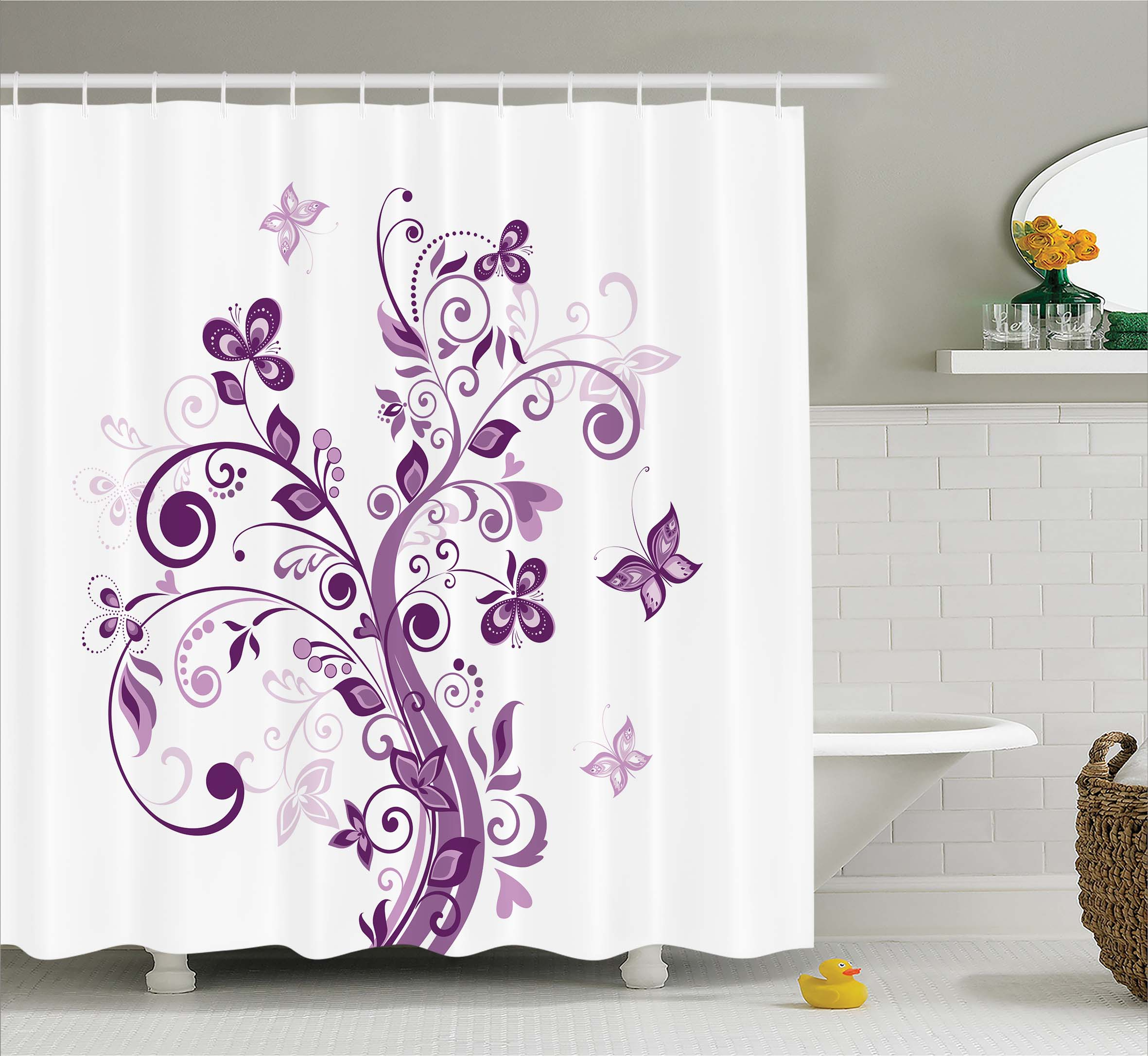 Mauve Decor Shower Curtain, Embellish Tree With Swirled Branches And  Flowers Leaf Butterfly Bridal Theme