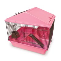 Ware Mfg Hamster/Gerbil 16-inch 2-level Small Animal Critter House Pink