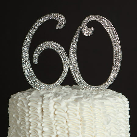 60 Cake Topper for 60th Birthday or Anniversary Silver Party Supplies Decoration Ideas - Sixty Birthday Decorations