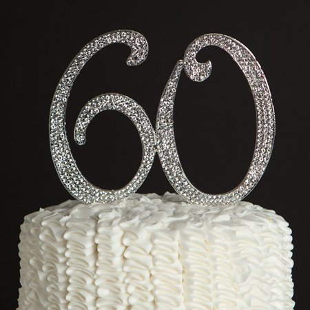 60 Cake Topper for 60th Birthday or Anniversary Silver Party Supplies Decoration Ideas (Ideas For 18th Birthday Party)