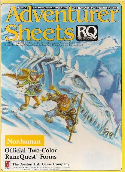 Adventurer SHeets Nonhuman New by Avalon Hill
