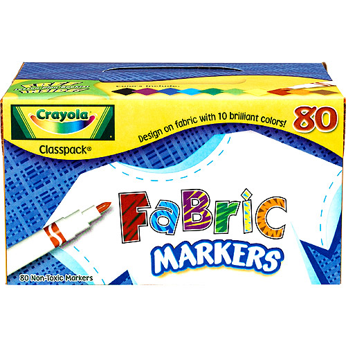 Crayola 80-Count Fabric Markers, 10 Colors