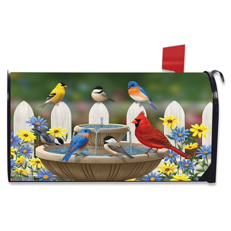 Snow Magnetic Mailbox Cover (Birdbath Gathering Spring Magnetic Mailbox Cover Floral Birds)